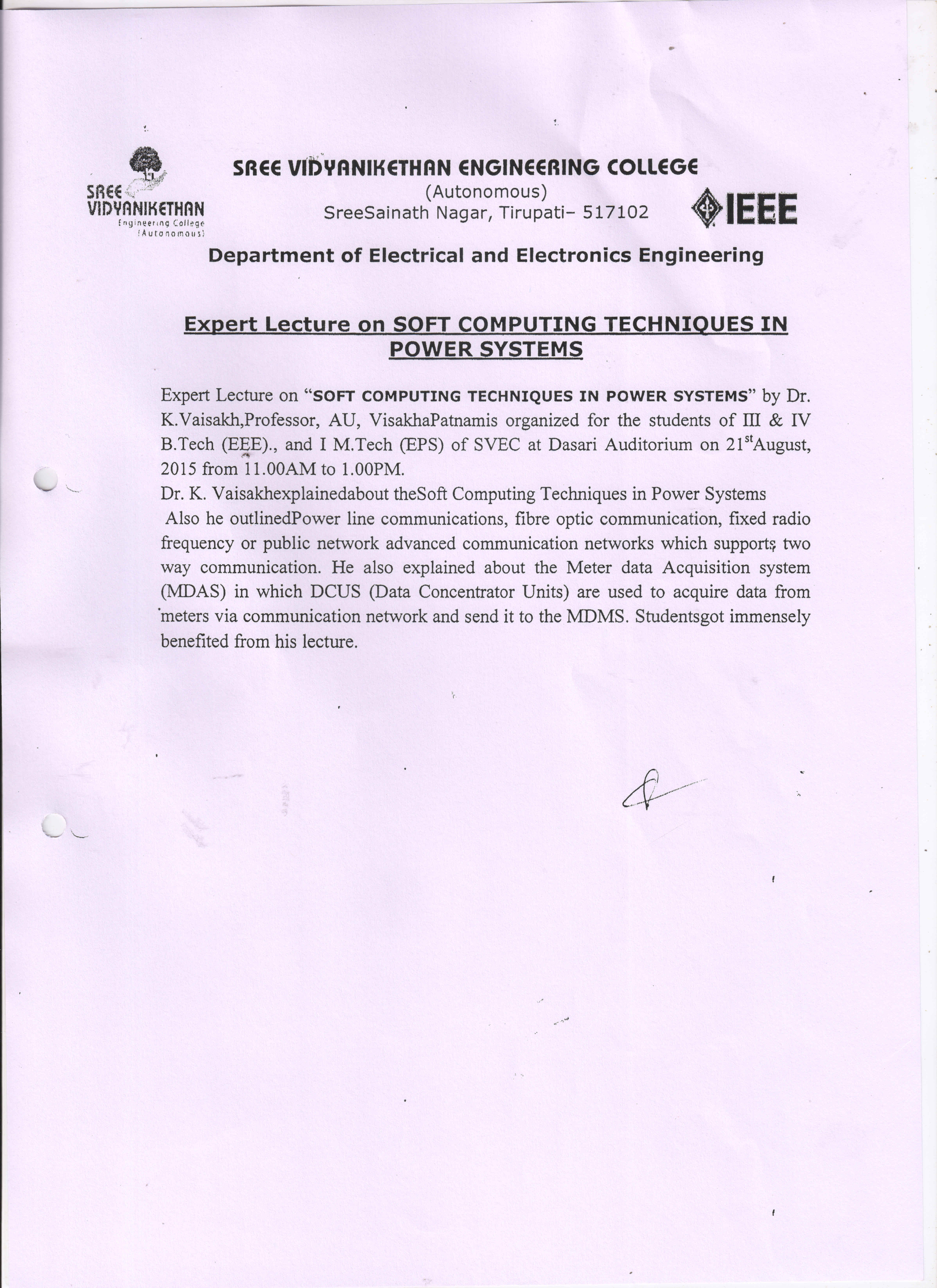 Electrical and Electronics of Engineering (EEE) | SVEC
